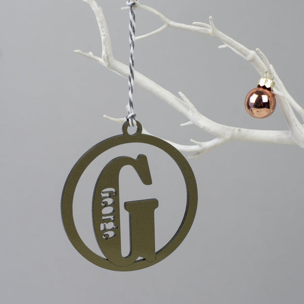 gold christmas personalised bauble
