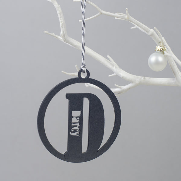 silver personalised christmas bauble