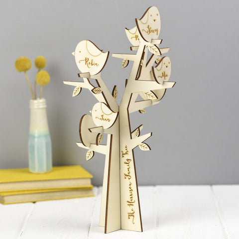 Wooden Personalised Family Tree with Birds