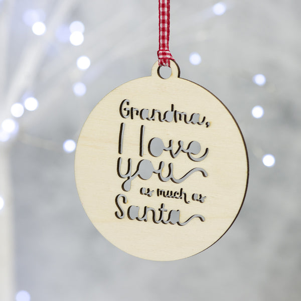 personalised wooden christmas tree decoration for grandparent
