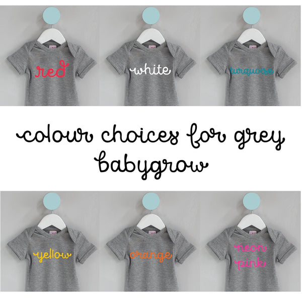 colour choices for grey baby grow