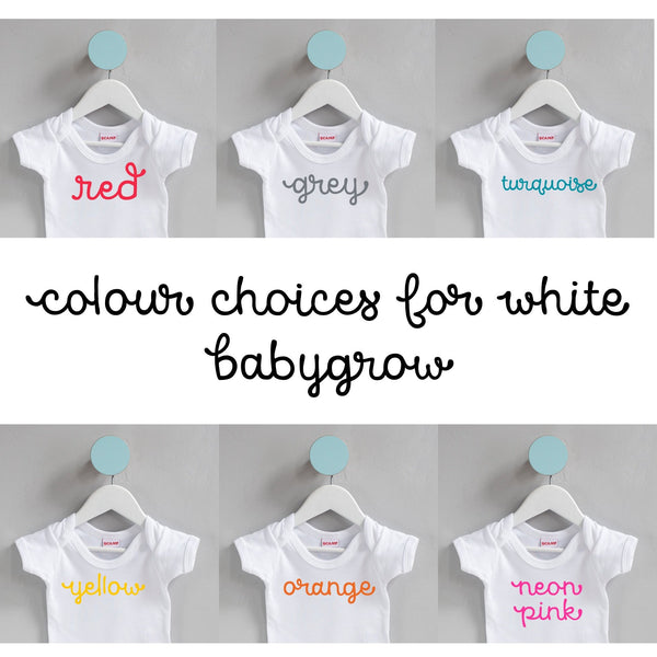 colour choices for white baby grow
