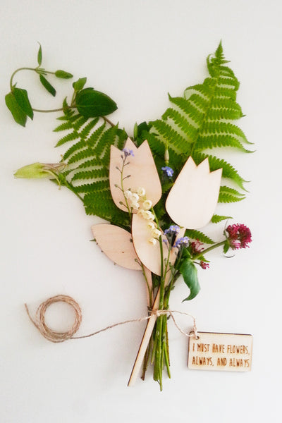personalised wooden laser cut flowers