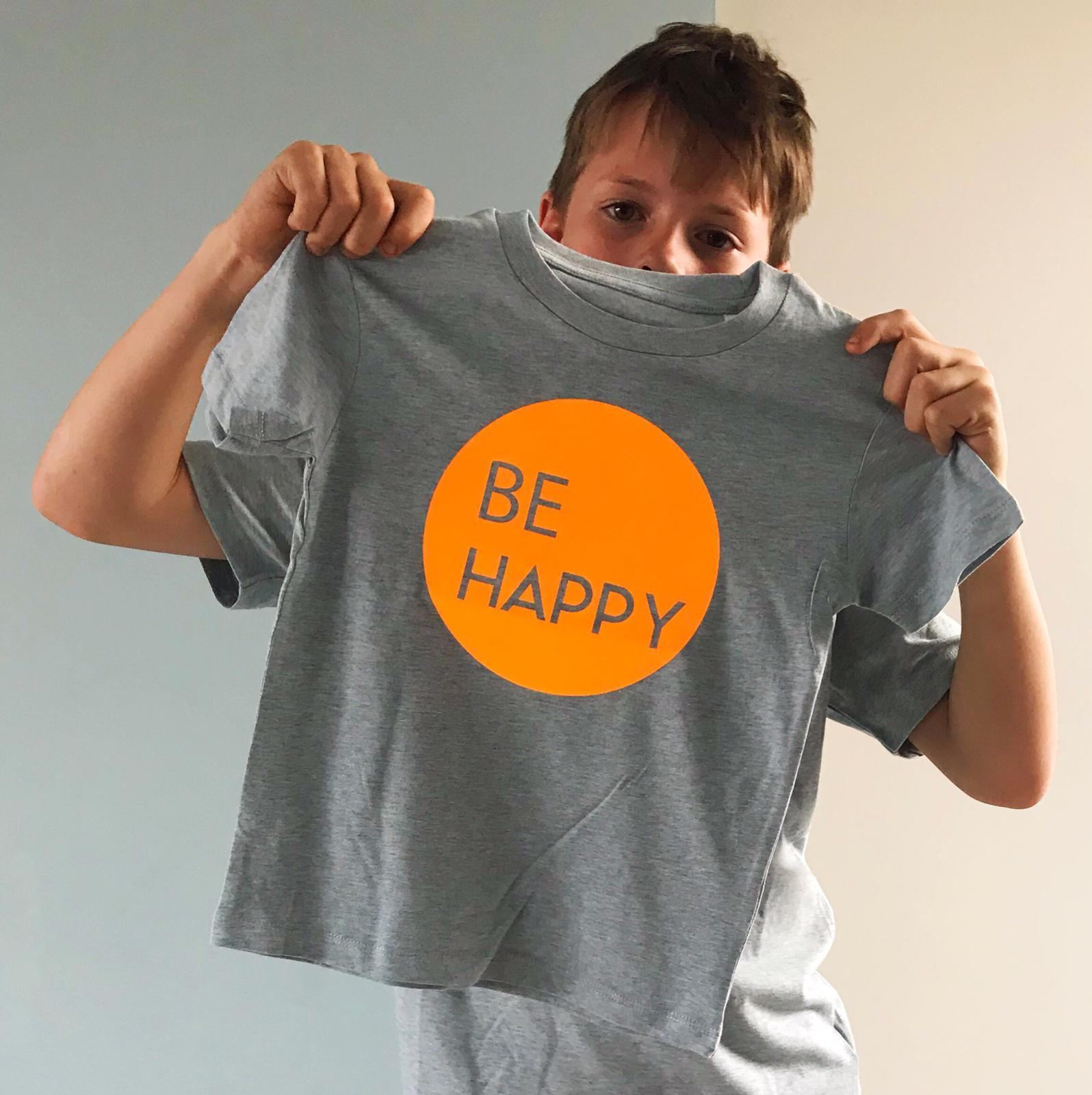 Be Happy Neon Orange Kids T-shirt