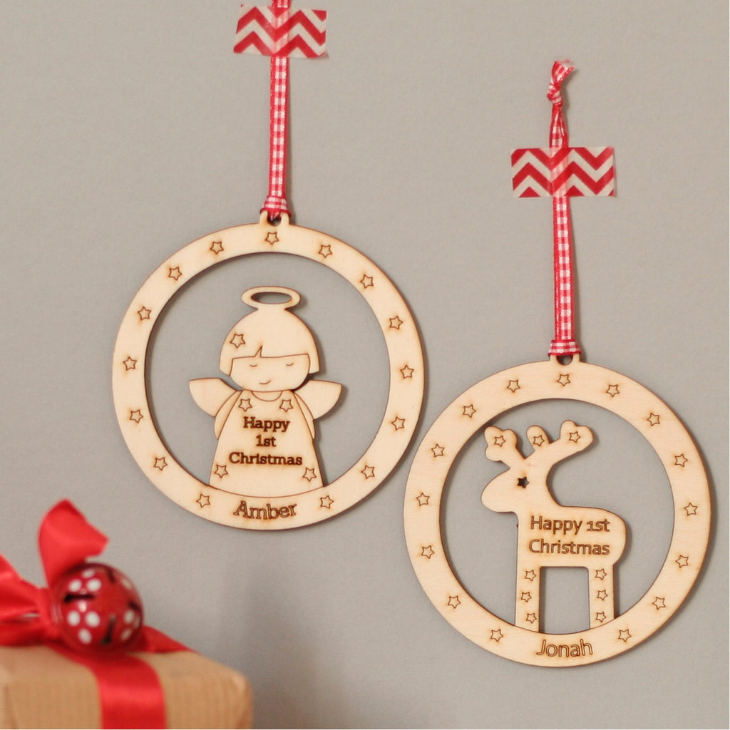 Personalised Laser Cut Wooden Angel Christmas Decoration