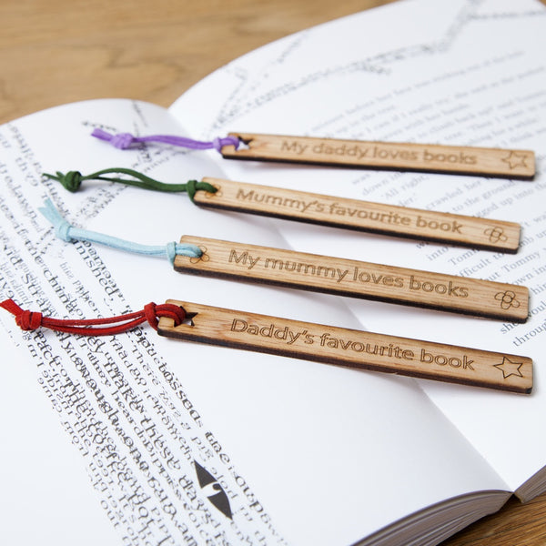 mummy or daddy personalised wooden bookmarks