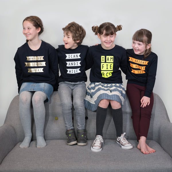 four designs of Scamp sweatshirts