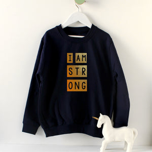 I am strong - kids sweat in gold