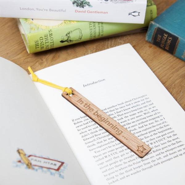 personalised wooden laser cut bookmark
