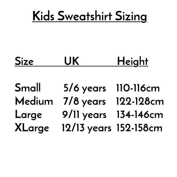 sizing guide for kids sweatshirts