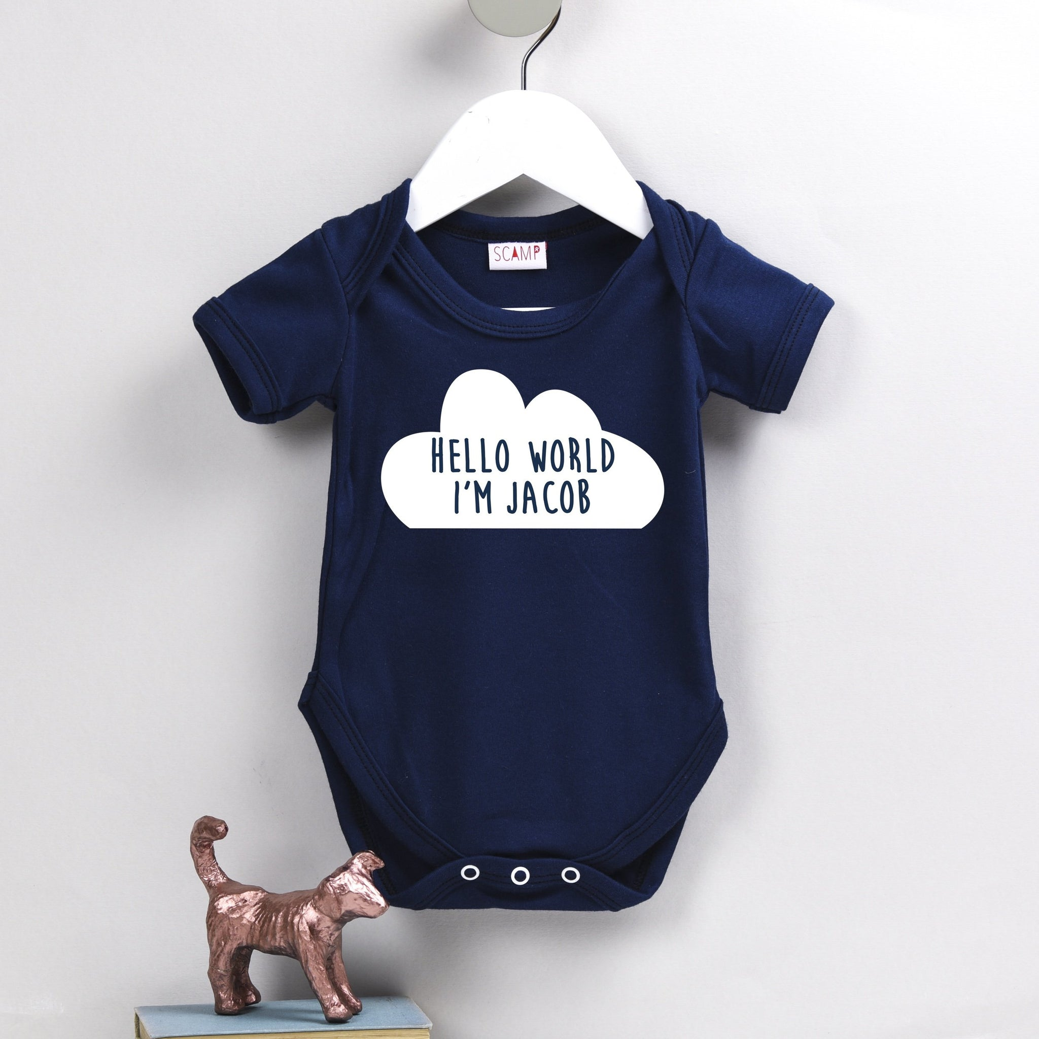 Personalised Cloud Baby Grow - Hello World I'm .....