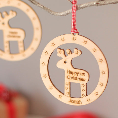 Personalised Wooden Reindeer Bauble Style Christmas Decoration