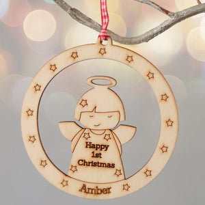 personalised christmas angel bauble decoration