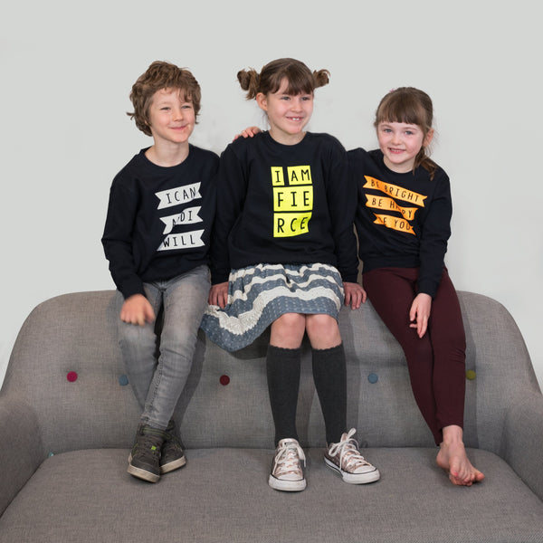 three designs of mighty range sweatshirts