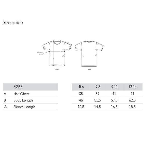 Scamp size guide for tshirts