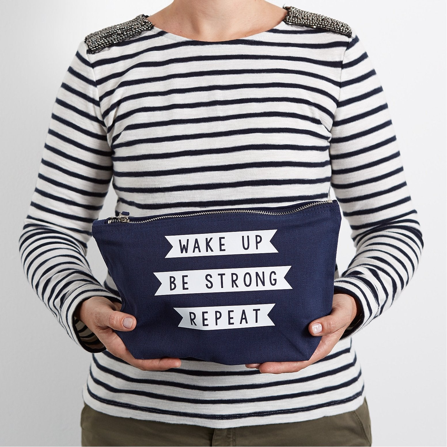Wake Up, Be Strong, Repeat Make Up Pouch/Accessories Case
