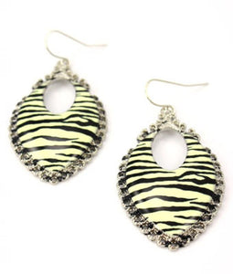 Oval Zebra Hook Earrings