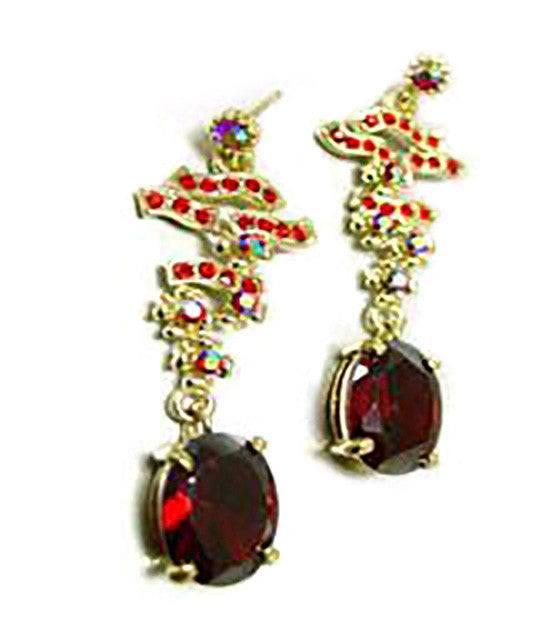 Red Austrian Dangle Earrings