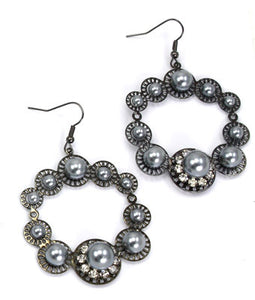 Ally Round Pearl Hook Earrings