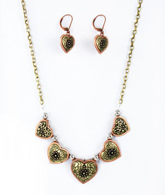 Antique Hearts Necklace Set