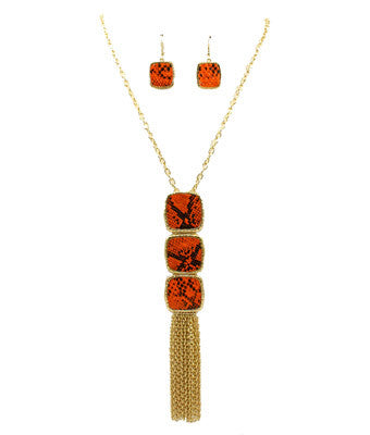 Faux Snakeskin Necklace Set