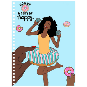 Donut Worry Be Happy Notebooks - Blue