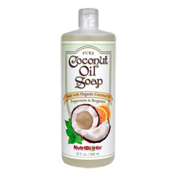 NutriBiotic Pure Coconut Oil Soap, Peppermint  Bergamot 32 oz.