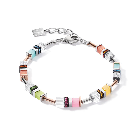 Coeur de Lion Armband GeoCUBE® Strass multicolor pastell-silber
