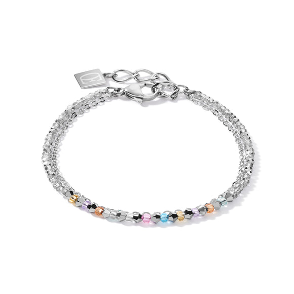 Coeur de Lion Armband fine waterfall silber-multicolor pastell