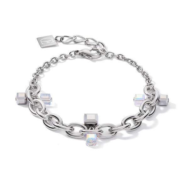 Coeur de Lion Armband casual & chunky chain Edelstahl & Swarovski® Kristalle silber-kristall