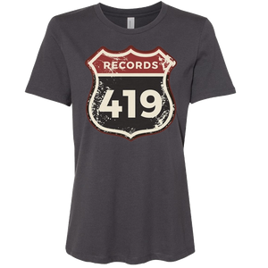 419 Records Ladies Dark Grey Logo Tee