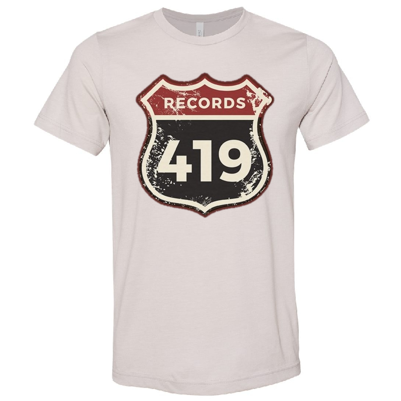 419 Records Heather Cool Grey Logo Tee