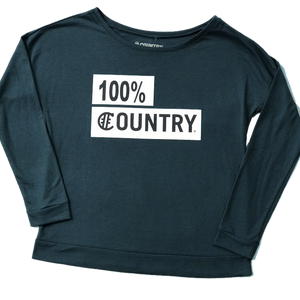 Hashtag Country Ladies Long Sleeve 100% Country Slate Blue Tee