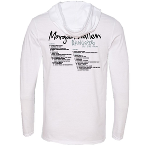 Morgan Wallen Dangerous Long Sleeve Hooded White Tee- PRESALE