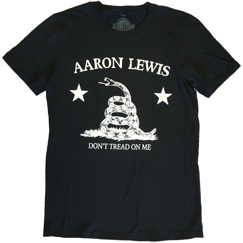 Aaron Lewis Black Tee-Don't Tread On Me (White)