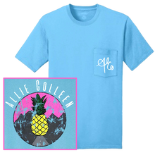 Load image into Gallery viewer, Allie Colleen Aquatic Blue Pocket Pineapple Tee