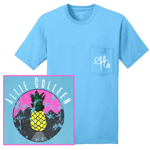 Allie Colleen Aquatic Blue Pocket Pineapple Tee