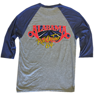 Alabama  Grey and Blue Raglan Tee- Roll On