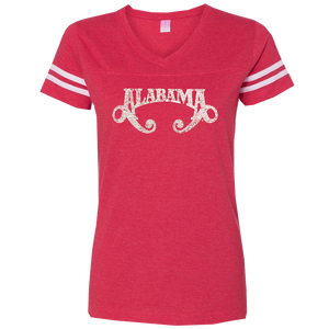 Alabama Ladies Football V Neck Red Tee