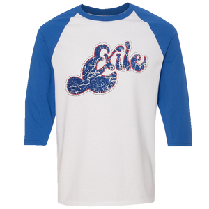 Exile White and Royal Baseball Tee