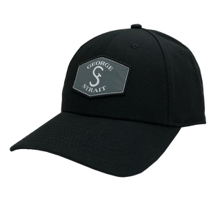 George Strait Black Ballcap w/ Patch