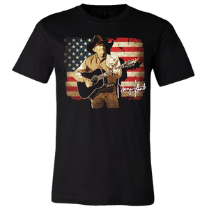 George Strait Black Distressed Flag Tee