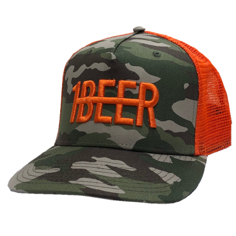 HARDY Camo and Orange Beer Hat