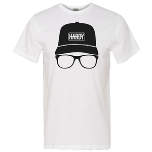 HARDY Unisex Hat and Glasses White Tee