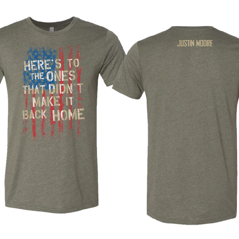 Justin Moore Heather Military Green Tee- Here's To the Ones