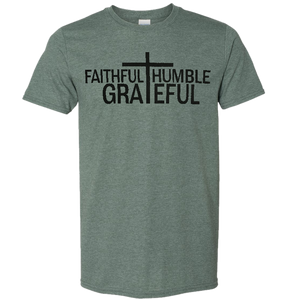 Josh Turner Heather Forest Green Tee- Faithful, Humble, Grateful