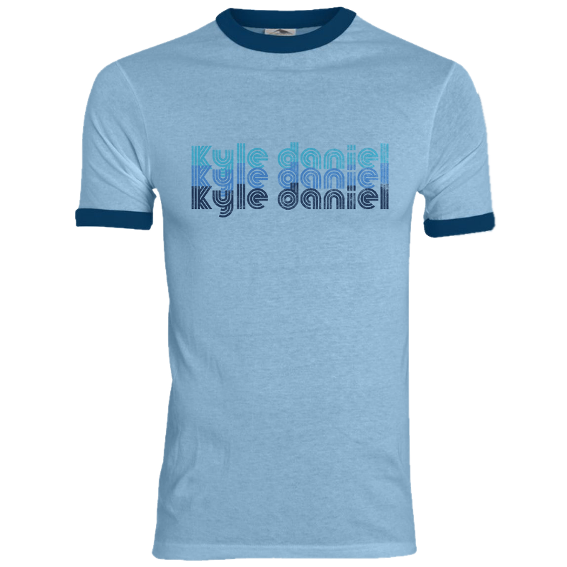 Kyle Daniel Light Blue and Navy Ringer Tee