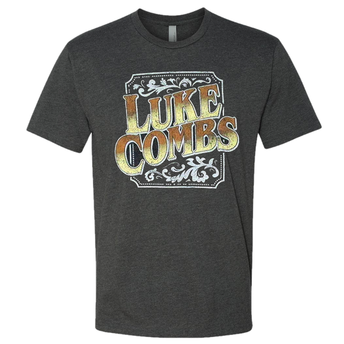 Luke Combs Heather Charcoal Logo Tee