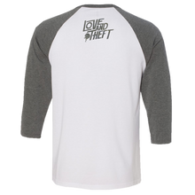 Load image into Gallery viewer, Love and Theft White and Heather Raglan Tee