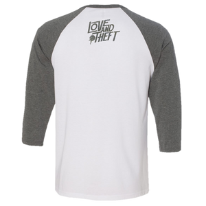 Love and Theft White and Heather Raglan Tee